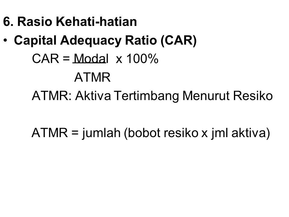 6. Rasio Kehati-hatian Capital Adequacy Ratio (CAR) CAR = Modal x 100% ATMR ATMR: Aktiva Tertimbang Menurut Resiko ATMR = jumlah (bobot resiko x jml a