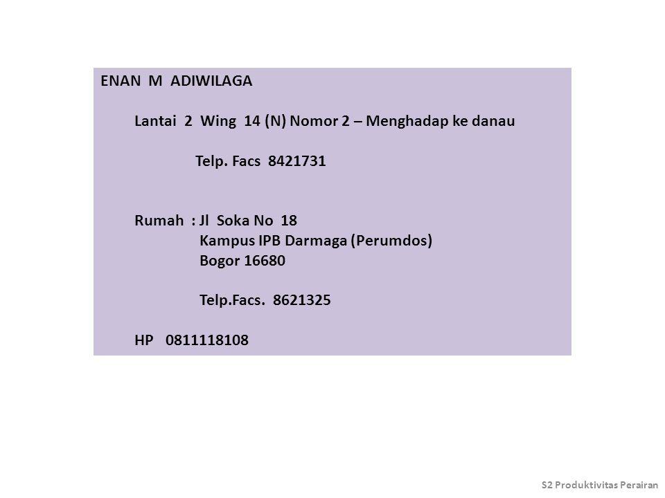 ENAN M ADIWILAGA Lantai 2 Wing 14 (N) Nomor 2 – Menghadap ke danau Telp. Facs 8421731 Rumah : Jl Soka No 18 Kampus IPB Darmaga (Perumdos) Bogor 16680