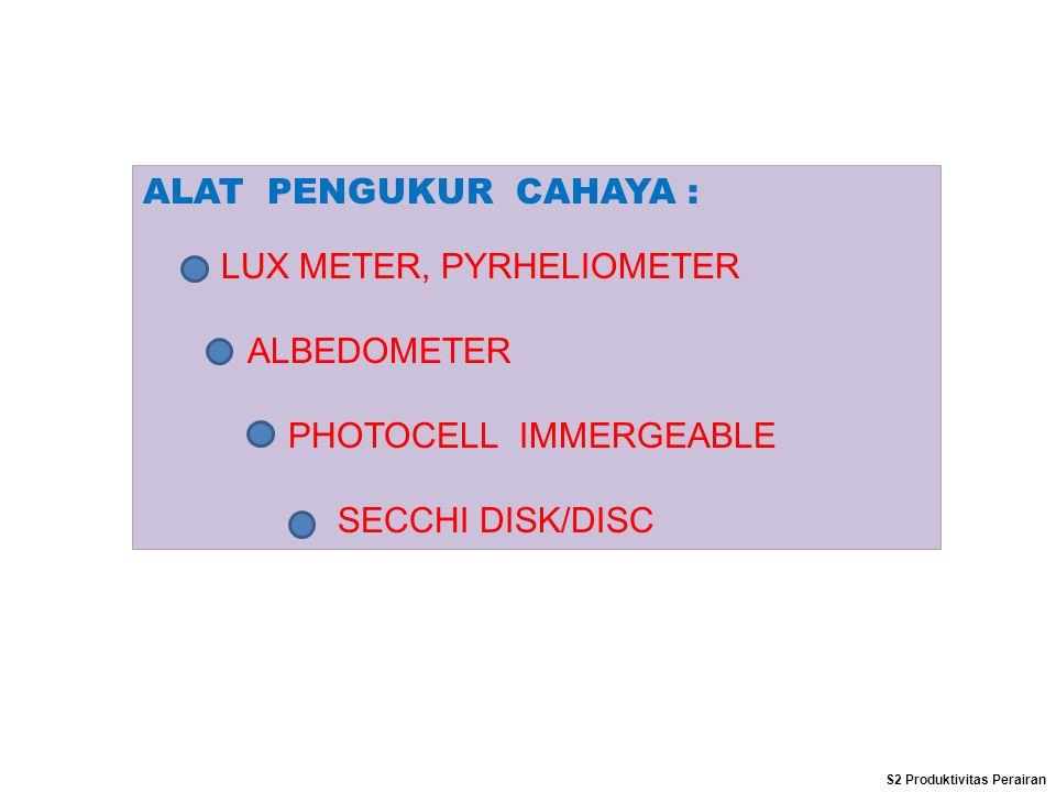 ALAT PENGUKUR CAHAYA : LUX METER, PYRHELIOMETER ALBEDOMETER PHOTOCELL IMMERGEABLE SECCHI DISK/DISC S2 Produktivitas Perairan