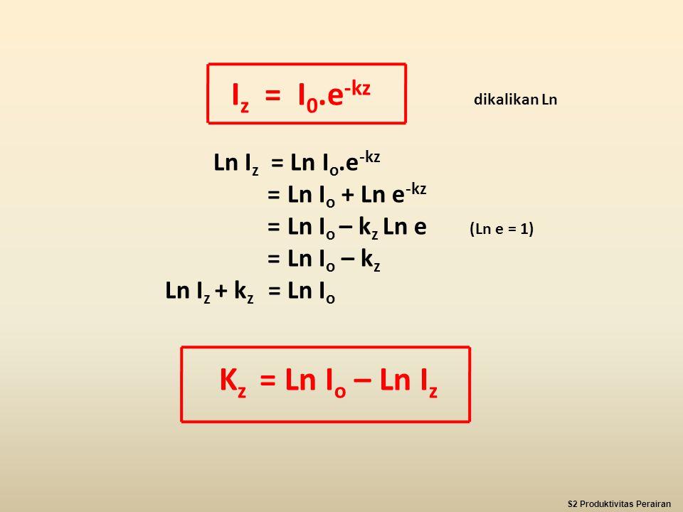 I z = I 0.e -kz dikalikan Ln Ln I z = Ln I o.e -kz = Ln I o + Ln e -kz = Ln I o – k z Ln e (Ln e = 1) = Ln I o – k z Ln I z + k z = Ln I o K z = Ln I