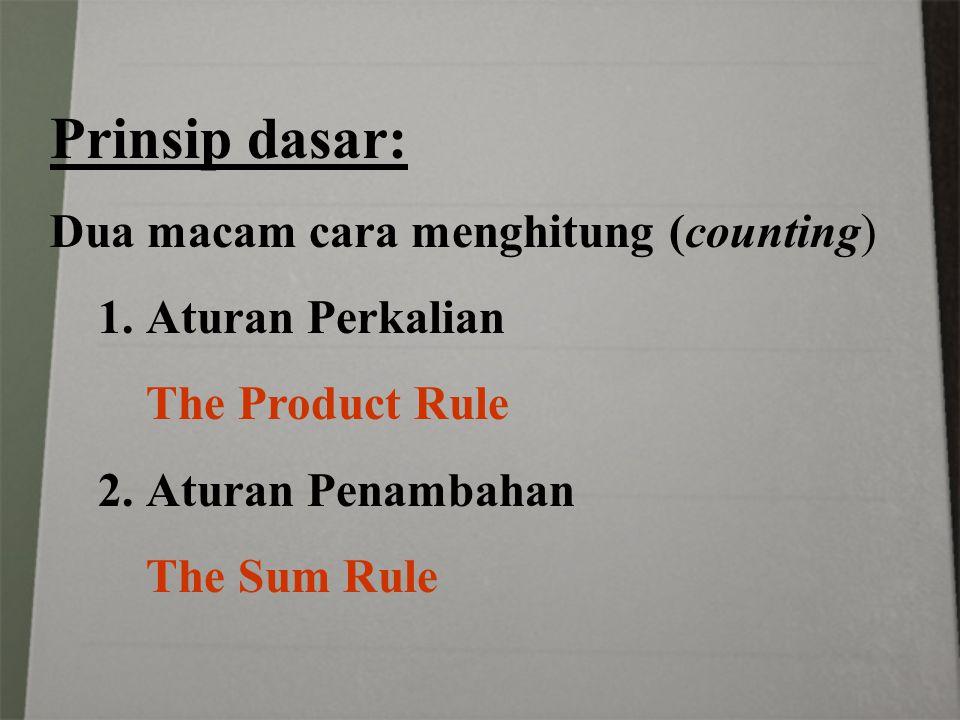Prinsip dasar: Dua macam cara menghitung (counting) 1.Aturan Perkalian The Product Rule 2.Aturan Penambahan The Sum Rule