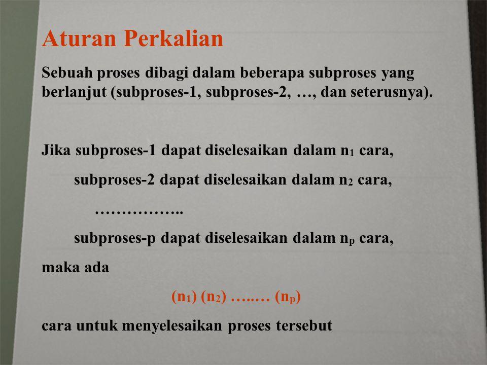 Aturan Perkalian Sebuah proses dibagi dalam beberapa subproses yang berlanjut (subproses-1, subproses-2, …, dan seterusnya). Jika subproses-1 dapat di