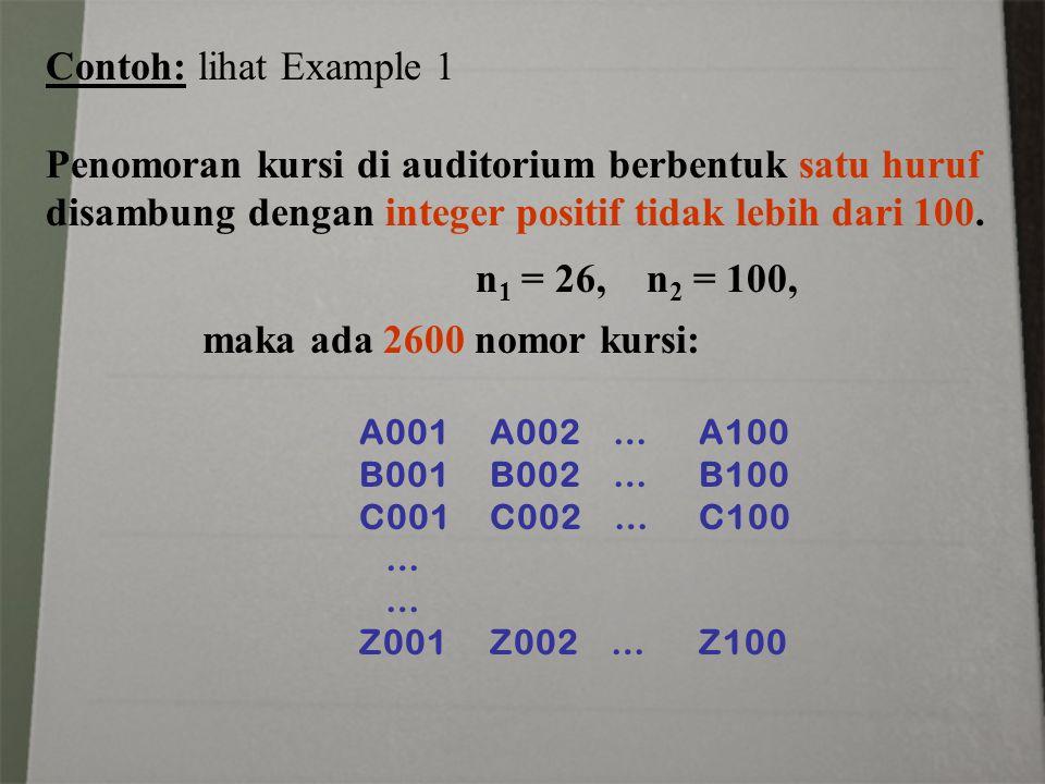 Contoh: lihat Example 1 Penomoran kursi di auditorium berbentuk satu huruf disambung dengan integer positif tidak lebih dari 100. n 1 = 26, n 2 = 100,