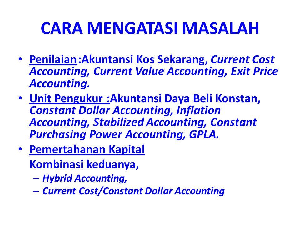 CARA MENGATASI MASALAH Penilaian:Akuntansi Kos Sekarang, Current Cost Accounting, Current Value Accounting, Exit Price Accounting. Unit Pengukur :Akun