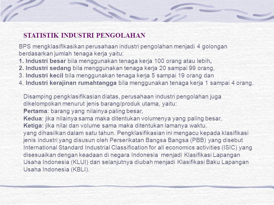 PENANGGUNG JAWAB DATA STATISTIK INDUSTRI BPS-PUSAT DIREKTORAT STATISTIK INDUSTRI DIREKTUR SUB.DIT.STAT INDUSTRI BESAR&SEDANG KA.SUB.DIT STAT IBS SUB.DIT.STAT INDUSTRI KECIL&KERAJINAN KA.SUB.DIT.STAT IKKR RUMAHTANGGA BPS-PROPINSI BIDANG STATISTIK PRODUKSI (KABID.STAT.