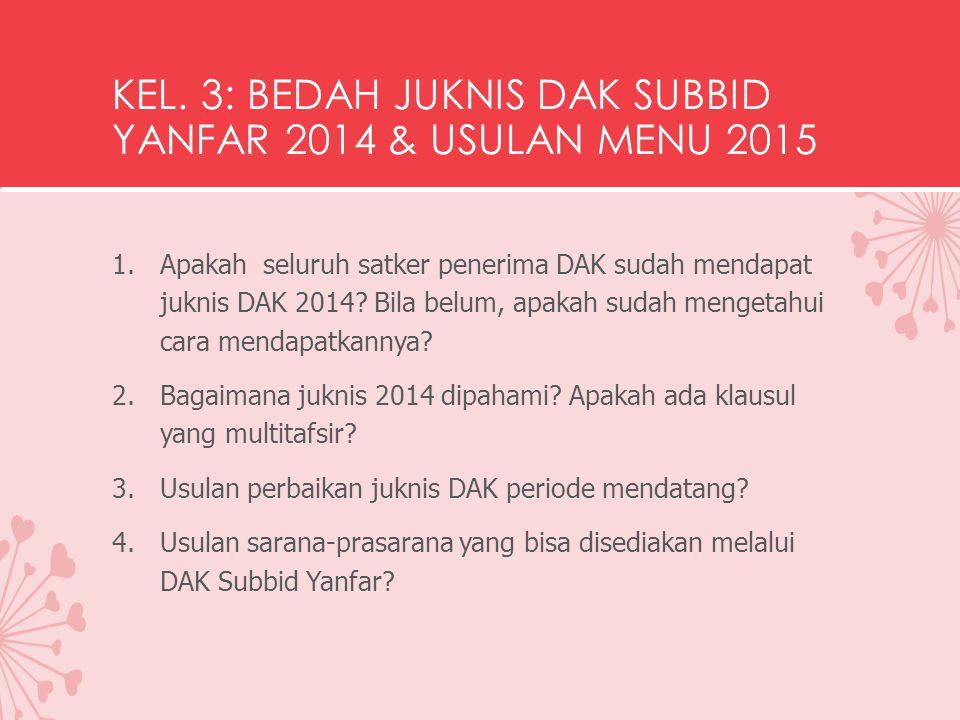 KEL. 3: BEDAH JUKNIS DAK SUBBID YANFAR 2014 & USULAN MENU 2015 1.Apakah seluruh satker penerima DAK sudah mendapat juknis DAK 2014? Bila belum, apakah