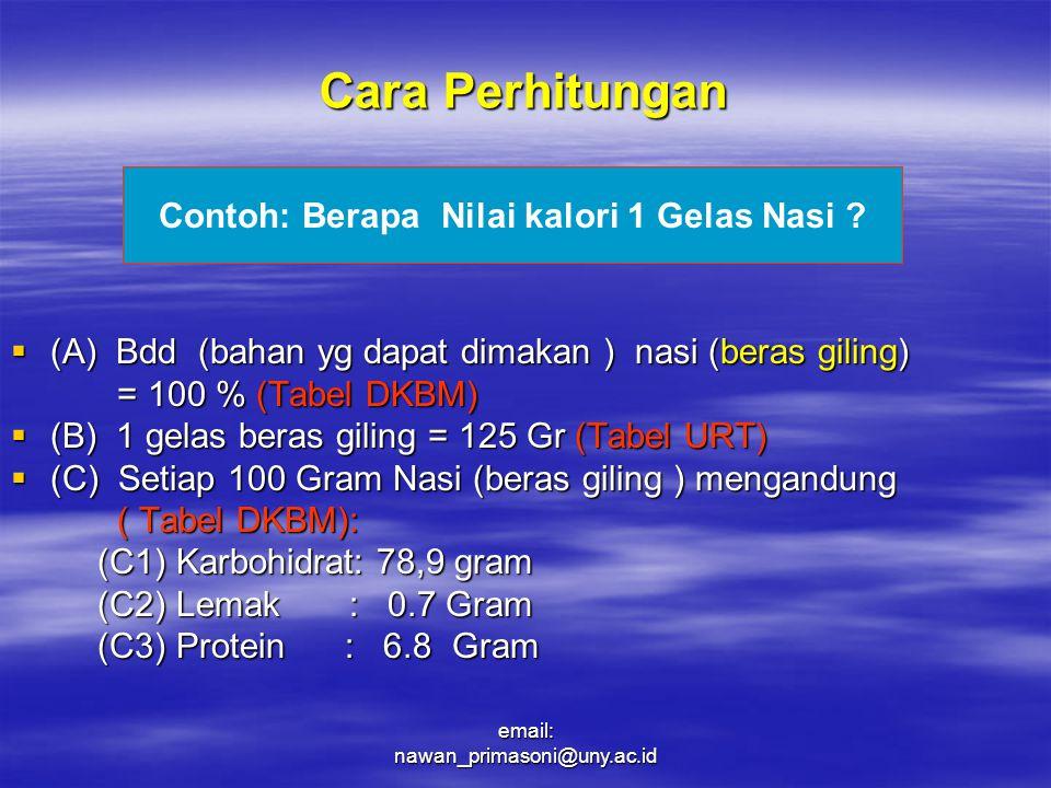 Cara Perhitungan  (A) Bdd (bahan yg dapat dimakan ) nasi (beras giling) = 100 % (Tabel DKBM) = 100 % (Tabel DKBM)  (B) 1 gelas beras giling = 125 Gr