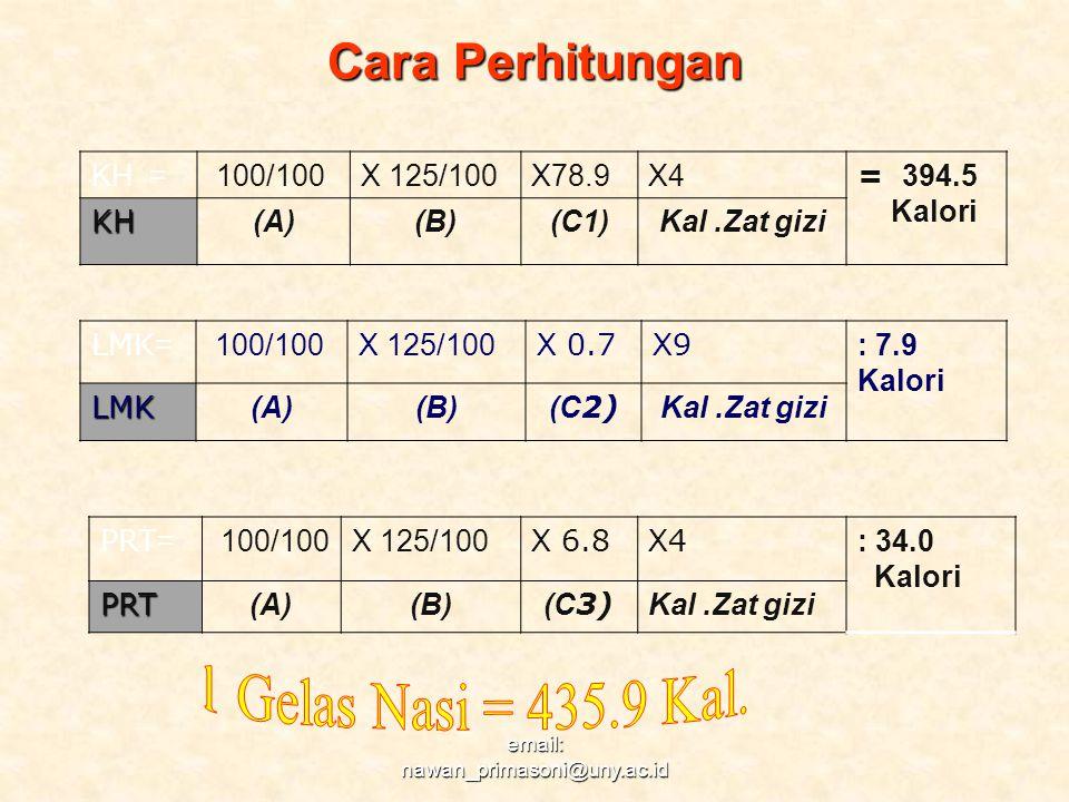 Cara Perhitungan LMK = 100/100X 125/100 X 0.7 X9X9 : 7.9 KaloriLMK (A)(B) (C 2) Kal.Zat gizi PRT = 100/100X 125/100 X 6.8 X4X4 : 34.0 KaloriPRT (A)(B)