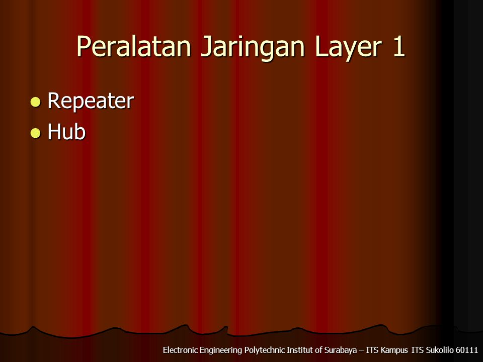 Electronic Engineering Polytechnic Institut of Surabaya – ITS Kampus ITS Sukolilo Peralatan Jaringan Layer 1 Repeater Repeater Hub Hub