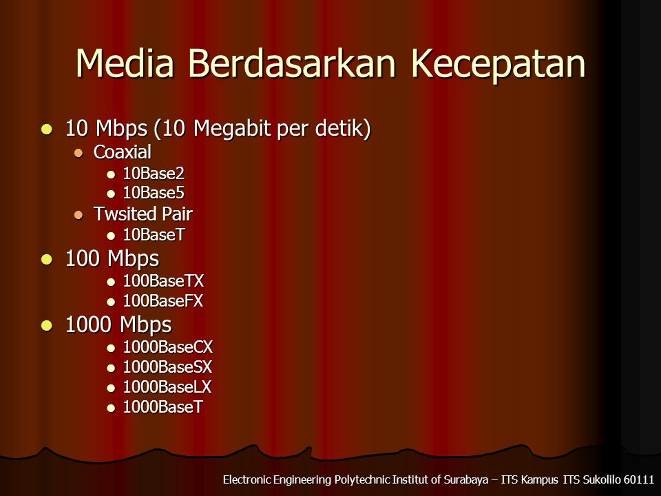Electronic Engineering Polytechnic Institut of Surabaya – ITS Kampus ITS Sukolilo Media Berdasarkan Kecepatan 10 Mbps (10 Megabit per detik) 10 Mbps (10 Megabit per detik) Coaxial Coaxial 10Base2 10Base2 10Base5 10Base5 Twsited Pair Twsited Pair 10BaseT 10BaseT 100 Mbps 100 Mbps 100BaseTX 100BaseTX 100BaseFX 100BaseFX 1000 Mbps 1000 Mbps 1000BaseCX 1000BaseCX 1000BaseSX 1000BaseSX 1000BaseLX 1000BaseLX 1000BaseT 1000BaseT