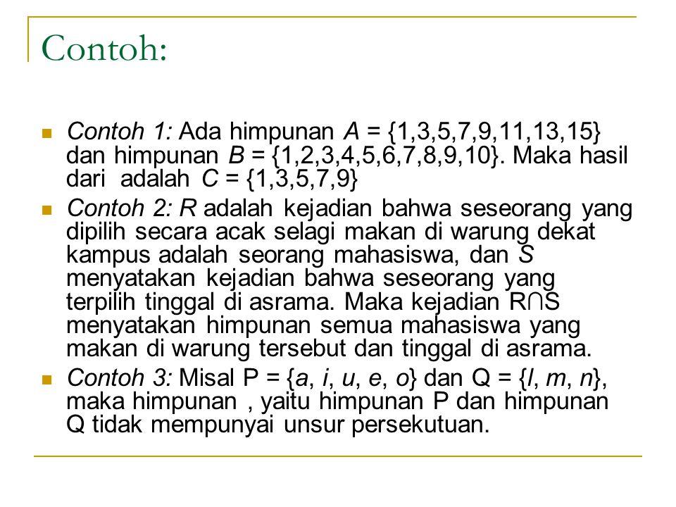 Contoh: Contoh 1: Ada himpunan A = {1,3,5,7,9,11,13,15} dan himpunan B = {1,2,3,4,5,6,7,8,9,10}. Maka hasil dari adalah C = {1,3,5,7,9} Contoh 2: R ad