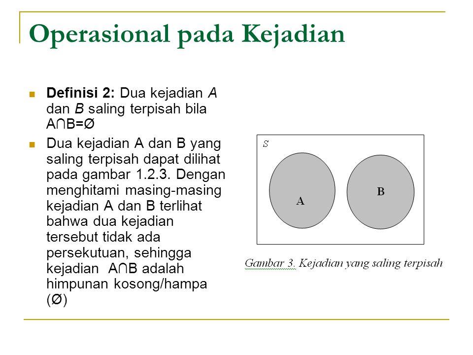 Operasional pada Kejadian Definisi 2: Dua kejadian A dan B saling terpisah bila A∩B=Ø Dua kejadian A dan B yang saling terpisah dapat dilihat pada gam