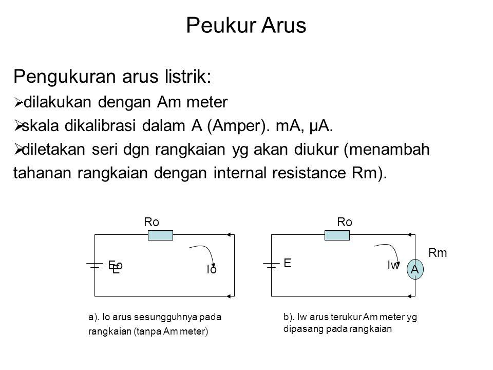 Penyelesaian: Pada batas ukur 2 A: (R1 + R2) // Rm dimana R1+R2 sbg Rsh Ish = 2 A – 0,5 mA = 1999,5 mA Rsh = (Im Rm) / Ish = 0,5 x 50 / 1999,5 = 0,0125 Ω Pada batas ukur 10 A:R2 // (R1 + Rm) dimana R2 sbg Rsh Ish = 10 A – 0,5mA = 9999,5 mA Rsh = Im (Rm + R1) / I – Im R2 = 0,5 ( 50 + R1) / 9999,5 mA = (25 + 0,5 R1) / 9999,5 Karena R1 + R2 = 0,0125 Ω, maka : R1 + (25+0,5R1)/9999,5 = 0,0125 Ω 10000 R1 = 125 – 25 R1 = 0,01 Ω dan R2 = 0,0025 Ω