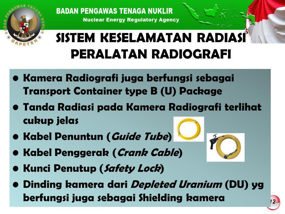 12 SISTEM KESELAMATAN RADIASI PERALATAN RADIOGRAFI Kamera Radiografi juga berfungsi sebagai Transport Container type B (U) Package Tanda Radiasi pada