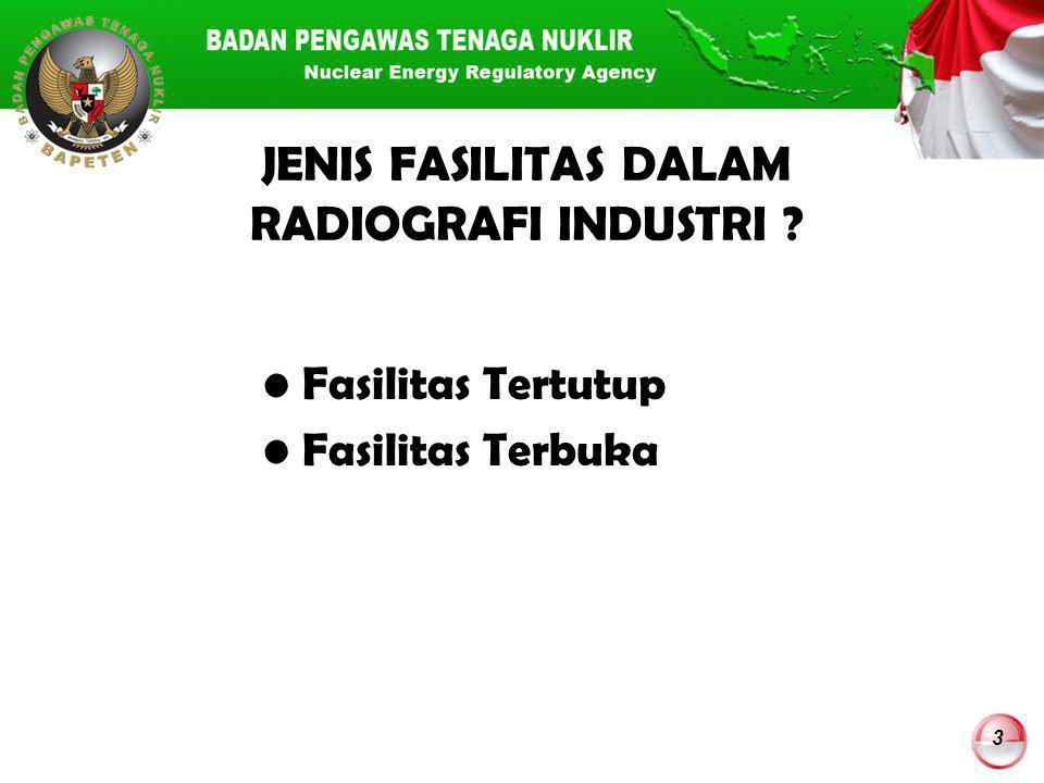 14 Data Merk Kamera Radiografi dan Sumber Radioaktif yang Digunakan di Indonesia* NoMerkNama Sumber Radioaktif Rentang Aktivitas (Ci) Jumlah 1AmertestIr-192, Se-7580-1001313 2Gamma MatIr-192, Se-7580-100113 3Tech Ops 660Ir-192, Se-7580-100330 4Tech Ops 680Co-601003 5Sentinel 880Ir-192, Se-7550-150332 6IridiaIr-19280-1002 7SCARIr-1922010 Jumlah Total803 *Data B@LI'S tanggal 10 Maret 2014B@LI