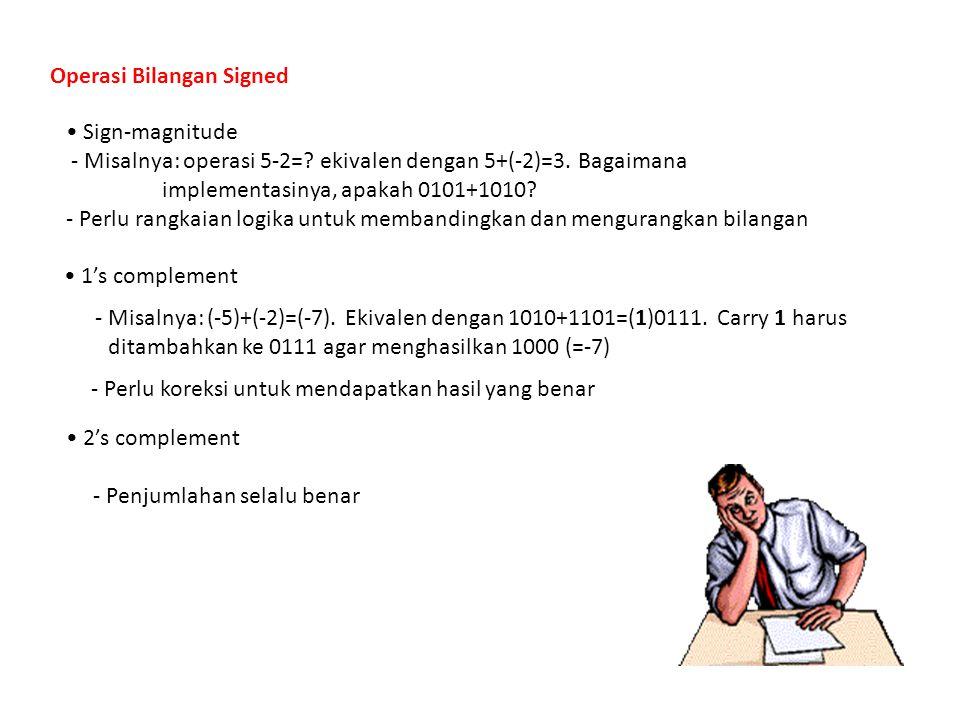 Operasi Bilangan Signed Sign-magnitude - Misalnya: operasi 5-2=? ekivalen dengan 5+(-2)=3. Bagaimana implementasinya, apakah 0101+1010? - Perlu rangka