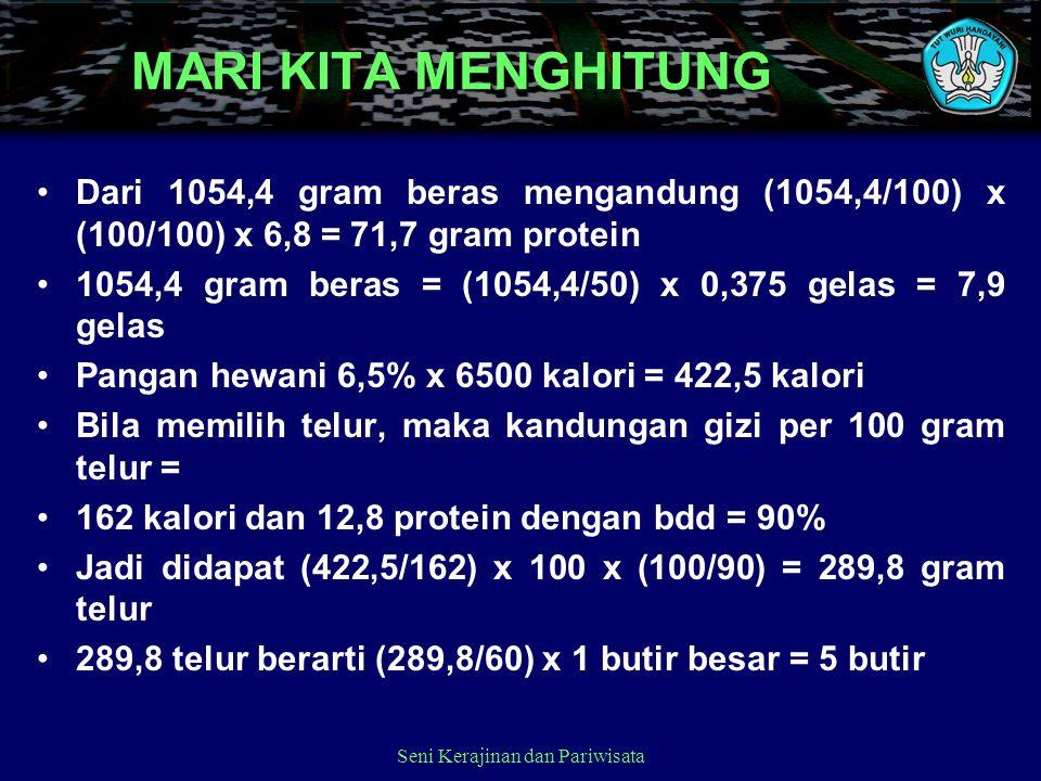 Dari 1054,4 gram beras mengandung (1054,4/100) x (100/100) x 6,8 = 71,7 gram protein 1054,4 gram beras = (1054,4/50) x 0,375 gelas = 7,9 gelas Pangan