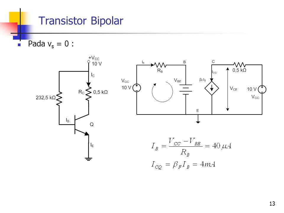 Transistor Bipolar Pada v s = 0 : 13