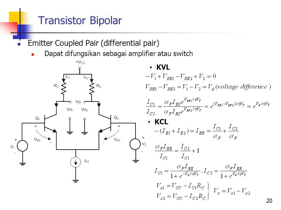 Transistor Bipolar Emitter Coupled Pair (differential pair) Dapat difungsikan sebagai amplifier atau switch 20 KVL KCL