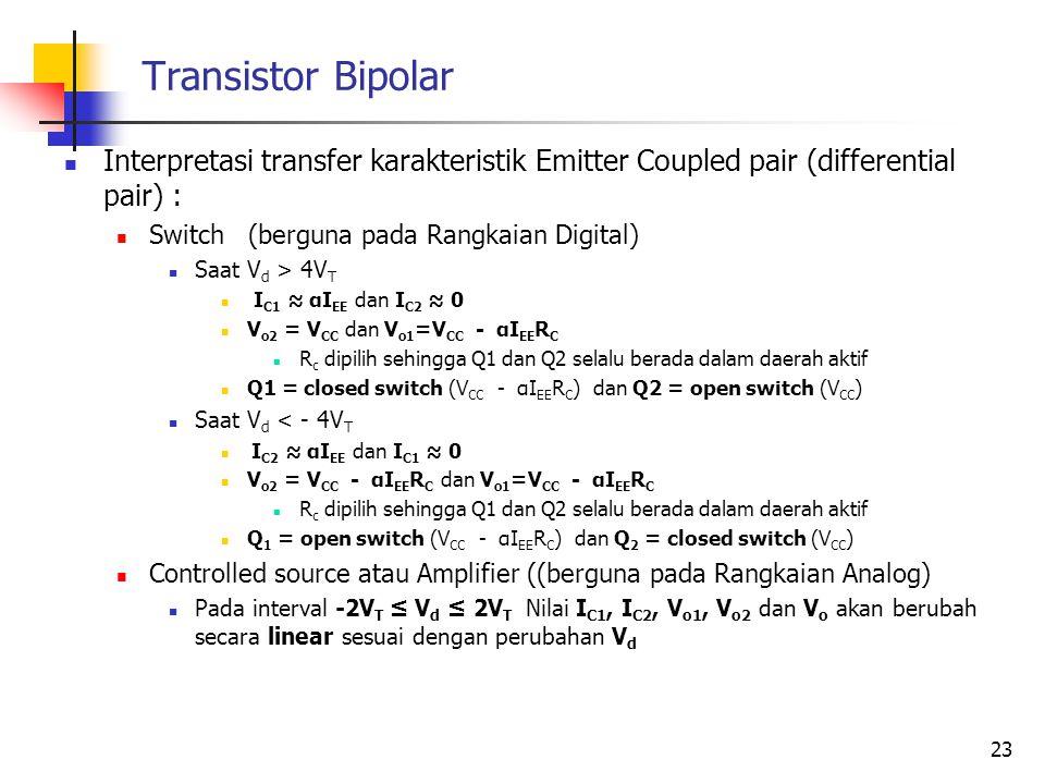 Transistor Bipolar Interpretasi transfer karakteristik Emitter Coupled pair (differential pair) : Switch (berguna pada Rangkaian Digital) Saat V d > 4