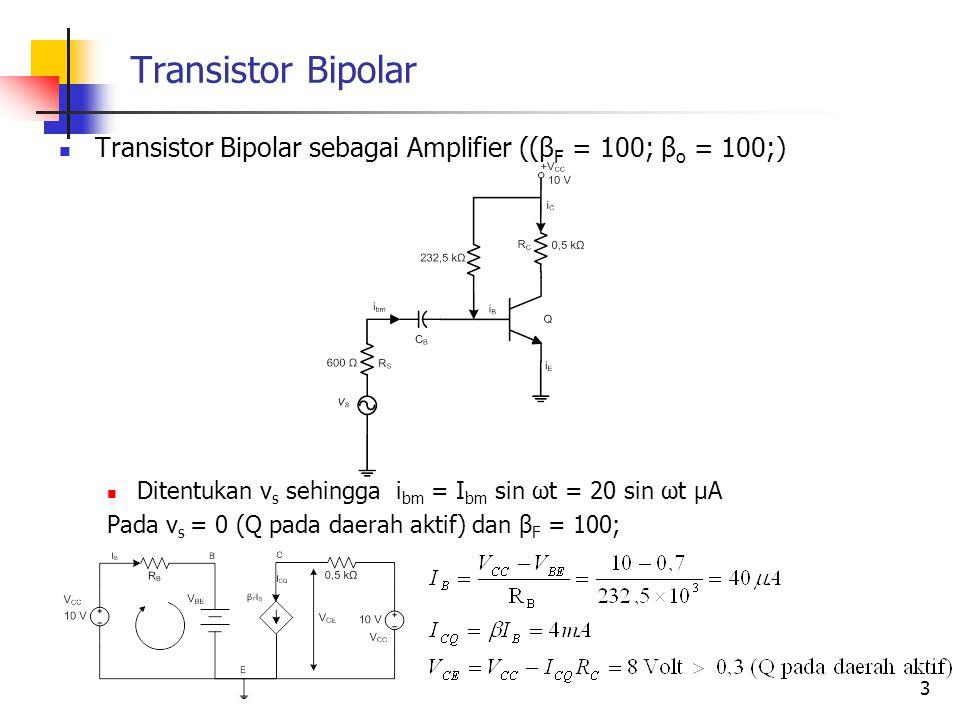 Transistor Bipolar Transistor Bipolar sebagai Amplifier ((β F = 100; β o = 100;) Ditentukan v s sehingga i bm = I bm sin ωt = 20 sin ωt μA Pada v s =