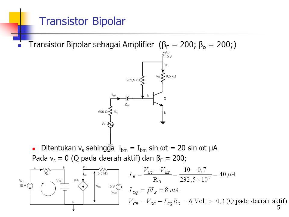 Transistor Bipolar Transistor Bipolar sebagai Amplifier (β F = 200; β o = 200;) Ditentukan v s sehingga i bm = I bm sin ωt = 20 sin ωt μA Pada v s = 0