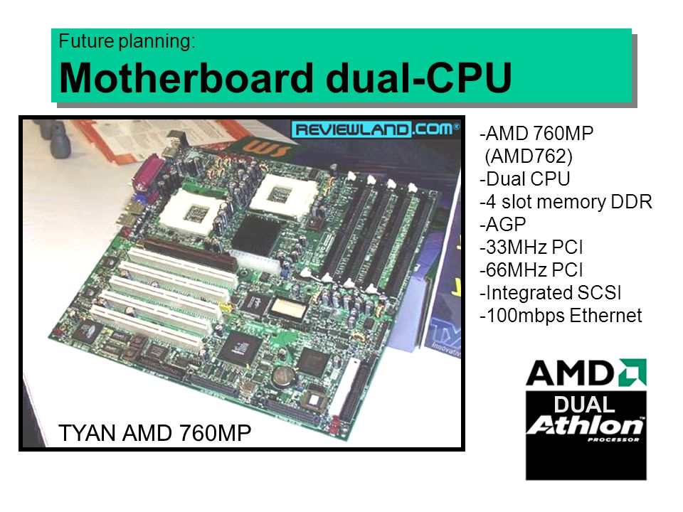 Future planning: Motherboard dual-CPU -AMD 760MP (AMD762) -Dual CPU -4 slot memory DDR -AGP -33MHz PCI -66MHz PCI -Integrated SCSI -100mbps Ethernet TYAN AMD 760MP DUAL