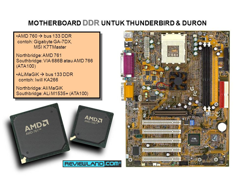 DDR MOTHERBOARD DDR UNTUK THUNDERBIRD & DURON AMD 760  bus 133 DDR contoh: Gigabyte GA-7DX, MSI K7TMaster Northbridge: AMD 761 Southbridge: VIA 686B atau AMD 766 (ATA100) ALiMaGiK  bus 133 DDR contoh: Iwill KA266 Northbridge: Ali MaGiK Southbridge: ALi M1535+ (ATA100) AMD 760  bus 133 DDR contoh: Gigabyte GA-7DX, MSI K7TMaster Northbridge: AMD 761 Southbridge: VIA 686B atau AMD 766 (ATA100) ALiMaGiK  bus 133 DDR contoh: Iwill KA266 Northbridge: Ali MaGiK Southbridge: ALi M1535+ (ATA100)