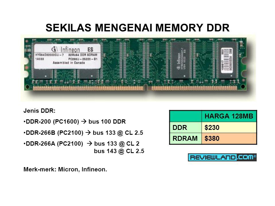 SEKILAS MENGENAI MEMORY DDR Jenis DDR: DDR-200 (PC1600)  bus 100 DDR DDR-266B (PC2100)  bus 133 @ CL 2.5 DDR-266A (PC2100)  bus 133 @ CL 2 bus 143 @ CL 2.5 Merk-merk: Micron, Infineon.