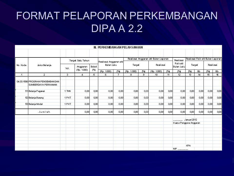 FORMAT PELAPORAN PERKEMBANGAN DIPA A 2.2
