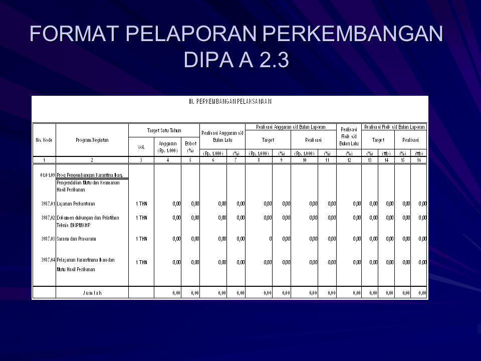 FORMAT PELAPORAN PERKEMBANGAN DIPA A 2.3