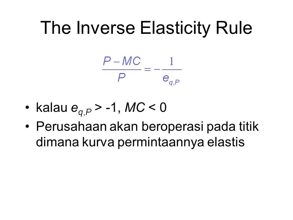 The Inverse Elasticity Rule kalau e q,P > -1, MC < 0 Perusahaan akan beroperasi pada titik dimana kurva permintaannya elastis