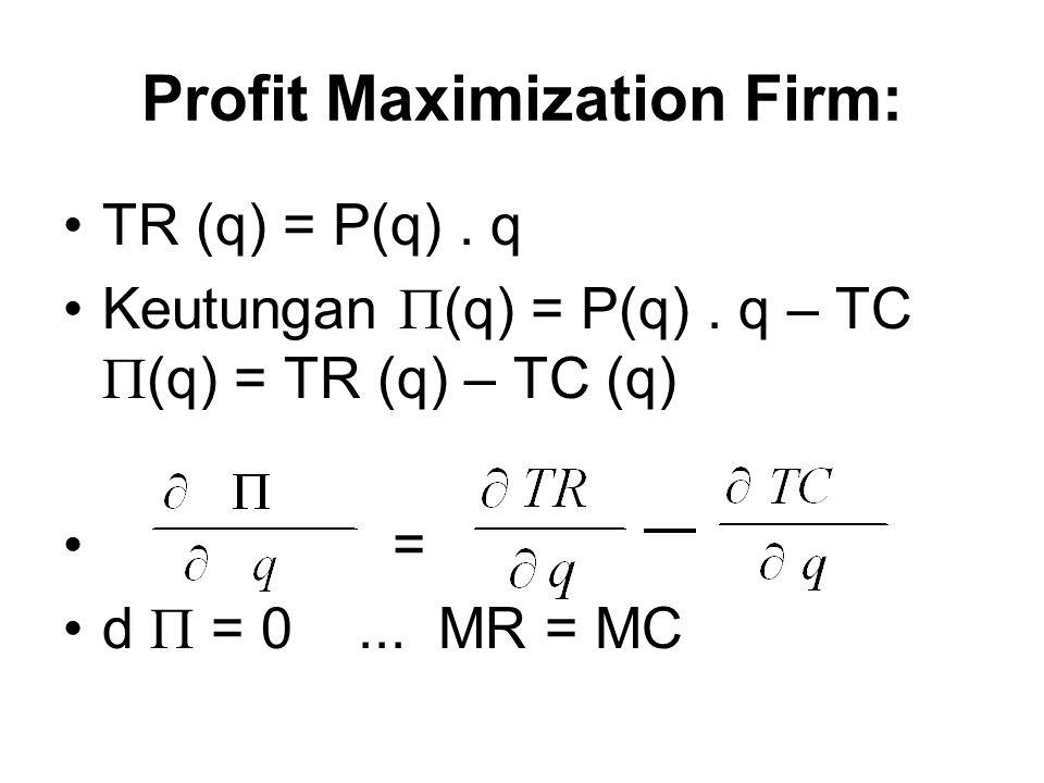Maksimisasi Keuntungan dan Permintaan Input Hubungan input-output, Fungsi produksi  (K,L) = Pq – TC(q) = Pf(K,L) – (vK + wL) Keuntungan maksimum  /  K = P[  f/  K] – v = 0  /  L = P[  f/  L] – w = 0 MR = MC Maksimum keuntungan, berarti minimum biaya Jadi RTS = w/v