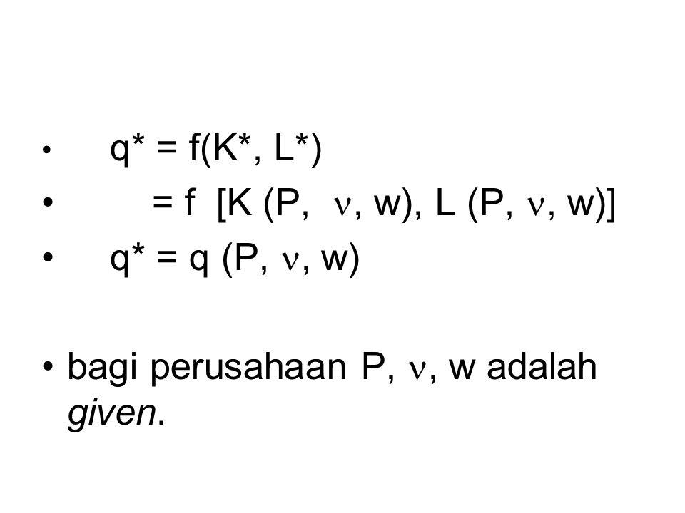 q* = f(K*, L*) = f [K (P,, w), L (P,, w)] q* = q (P,, w) bagi perusahaan P,, w adalah given.