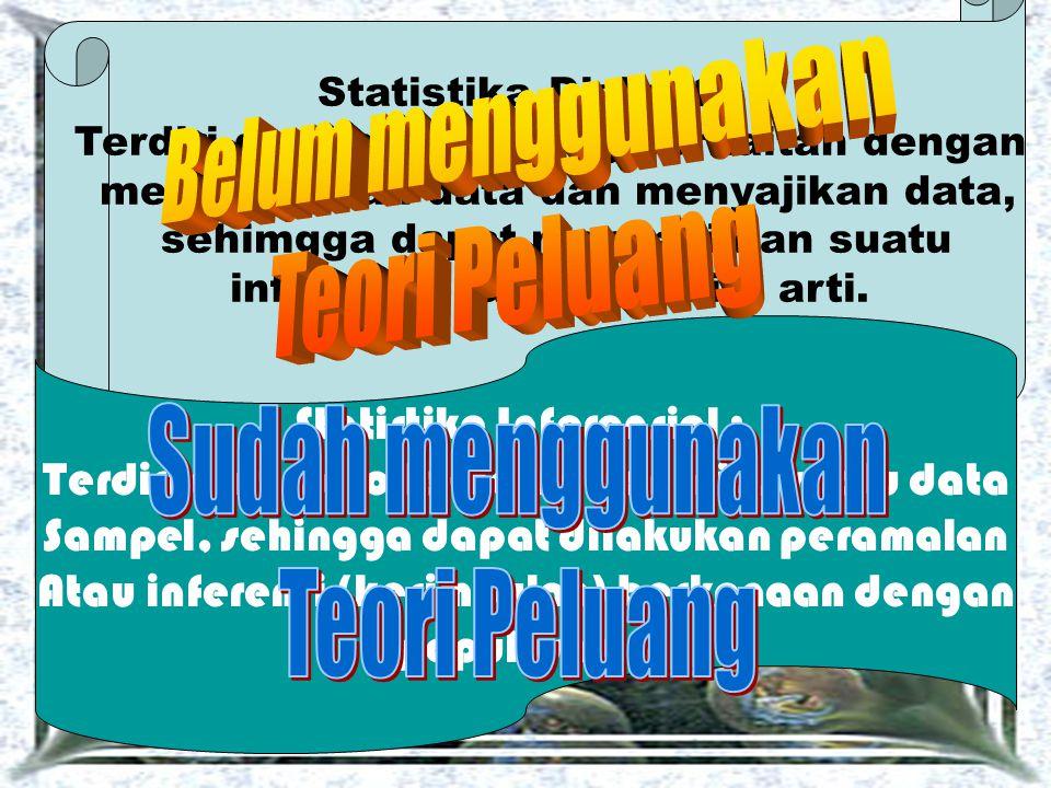 Statistika Diskretif : Terdiri dari metode yang berkaitan dengan mengumpulan data dan menyajikan data, sehimgga dapat mengasilkan suatu informasi yang memiliki arti.