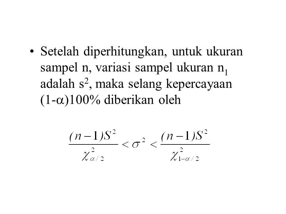 Setelah diperhitungkan, untuk ukuran sampel n, variasi sampel ukuran n 1 adalah s 2, maka selang kepercayaan (1-  )100% diberikan oleh