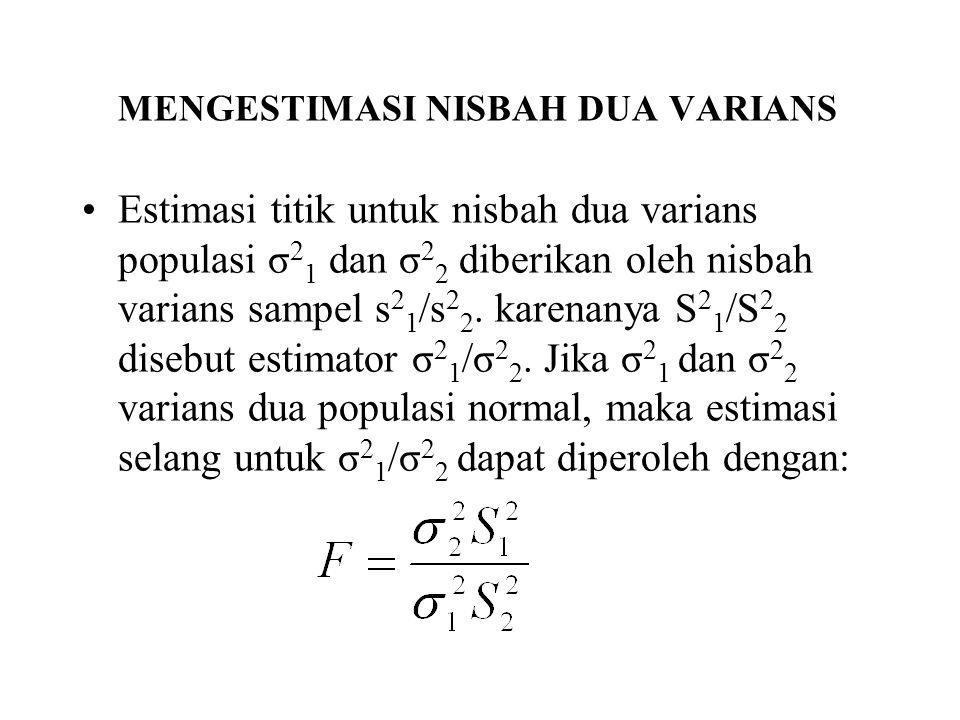 MENGESTIMASI NISBAH DUA VARIANS Estimasi titik untuk nisbah dua varians populasi σ 2 1 dan σ 2 2 diberikan oleh nisbah varians sampel s 2 1 /s 2 2. ka