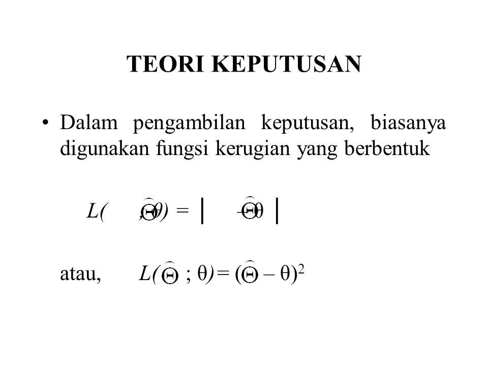 TEORI KEPUTUSAN Dalam pengambilan keputusan, biasanya digunakan fungsi kerugian yang berbentuk L( ; θ) = │ – θ │ atau,L( ; θ)= ( – θ) 2