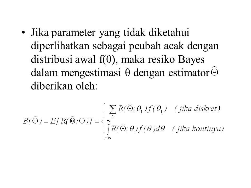Jika parameter yang tidak diketahui diperlihatkan sebagai peubah acak dengan distribusi awal f(θ), maka resiko Bayes dalam mengestimasi θ dengan estim