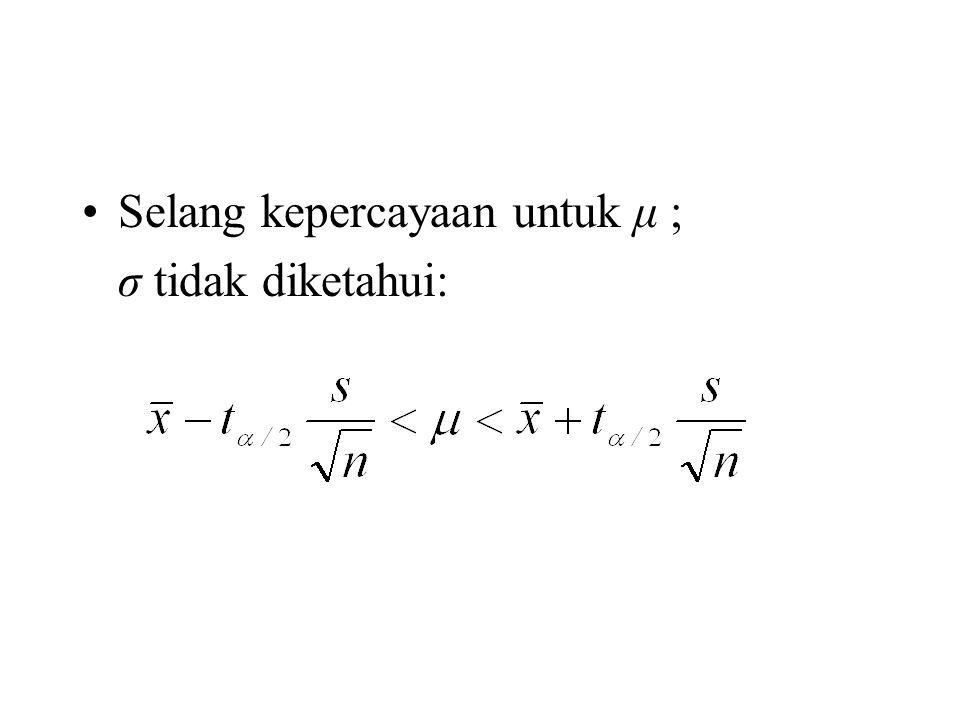 Selang kepercayaan untuk μ ; σ tidak diketahui: