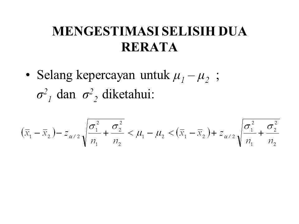MENGESTIMASI SELISIH DUA RERATA Selang kepercayan untuk μ 1 – μ 2 ; σ 2 1 dan σ 2 2 diketahui: