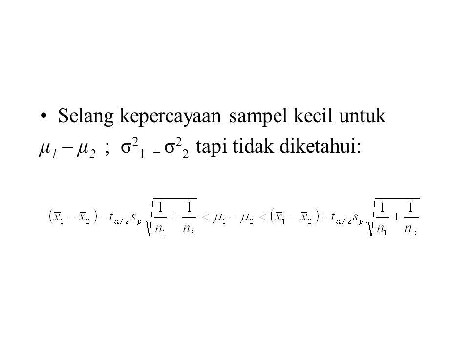 Selang kepercayaan sampel kecil untuk μ 1 – μ 2 ; σ 2 1 = σ 2 2 tapi tidak diketahui: