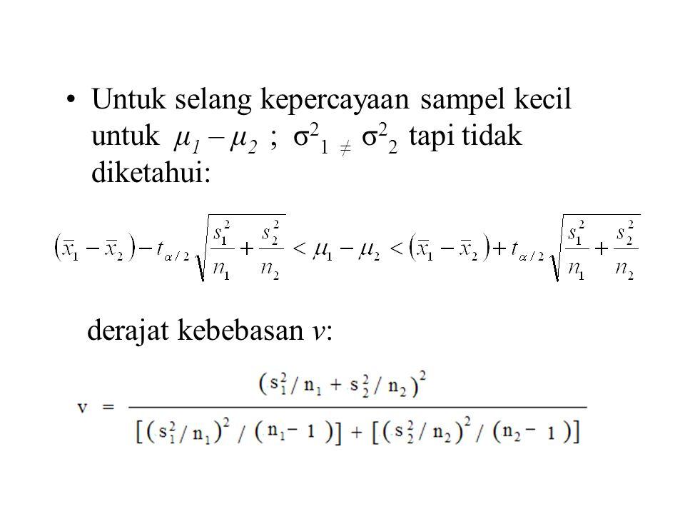 Untuk selang kepercayaan sampel kecil untuk μ 1 – μ 2 ; σ 2 1 ≠ σ 2 2 tapi tidak diketahui: derajat kebebasan v: