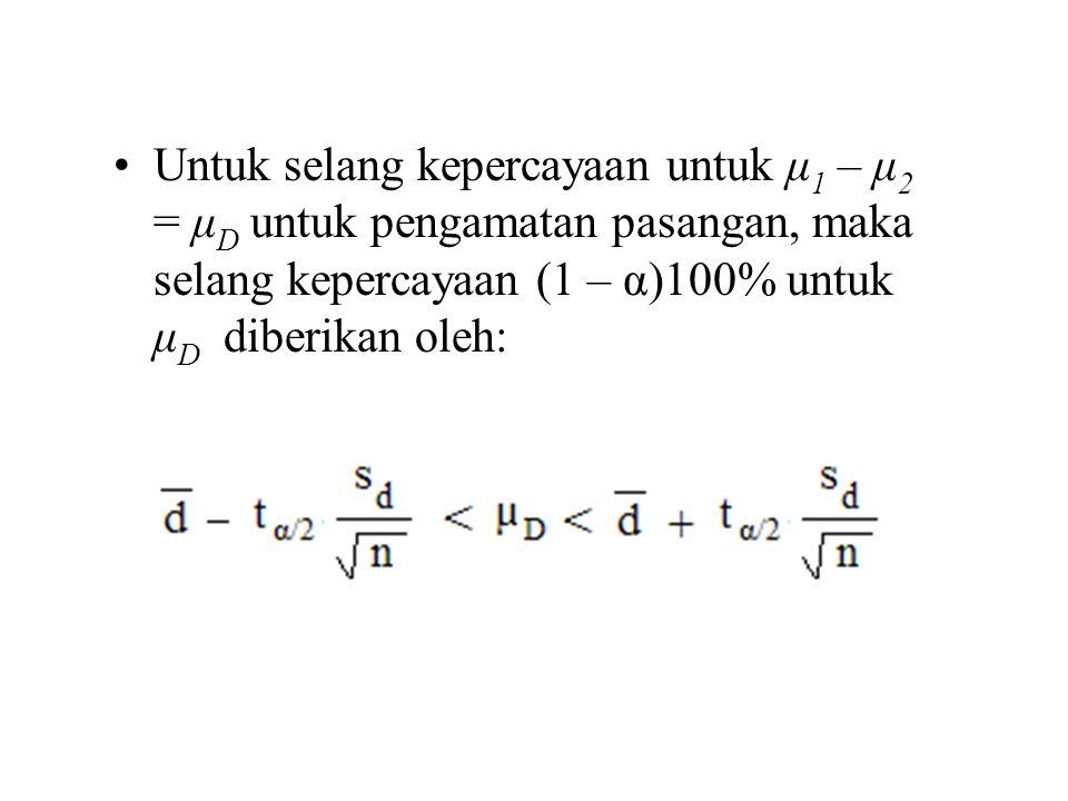 Untuk selang kepercayaan untuk μ 1 – μ 2 = μ D untuk pengamatan pasangan, maka selang kepercayaan (1 – α)100% untuk μ D diberikan oleh: