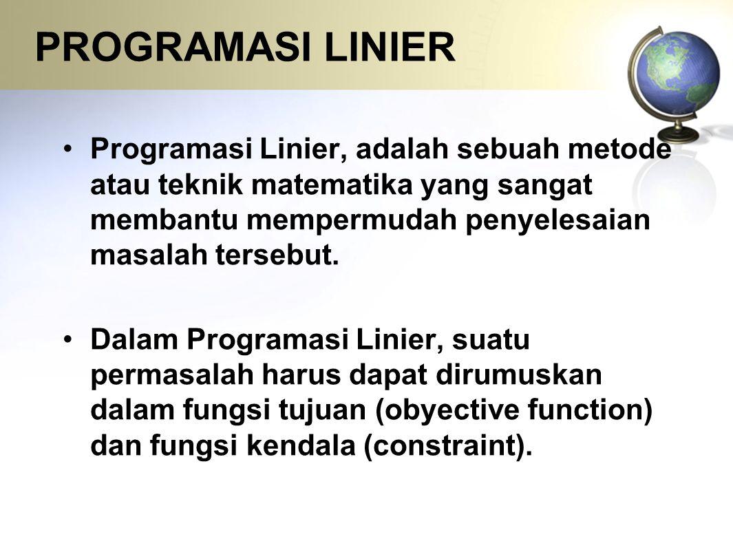 PROGRAMASI LINIER Programasi Linier, adalah sebuah metode atau teknik matematika yang sangat membantu mempermudah penyelesaian masalah tersebut. Dalam