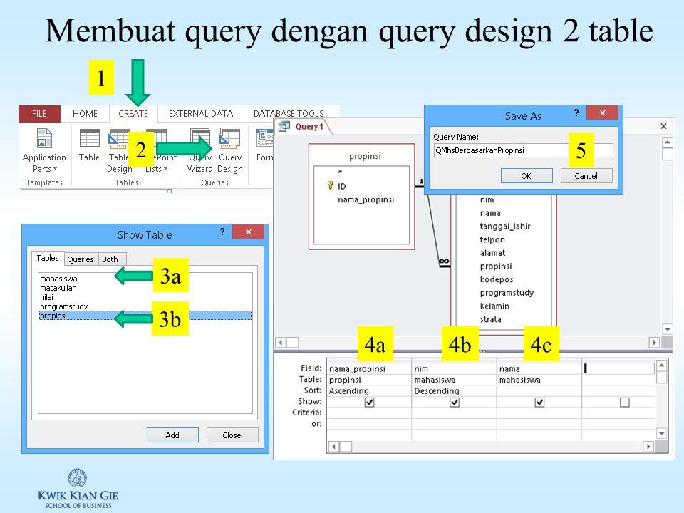 Membuat find unmatched query dengan wizard (3) QFindUProgramstudy idnamaketerangan 3TIProgram Study Teknologi Informasi 5 6