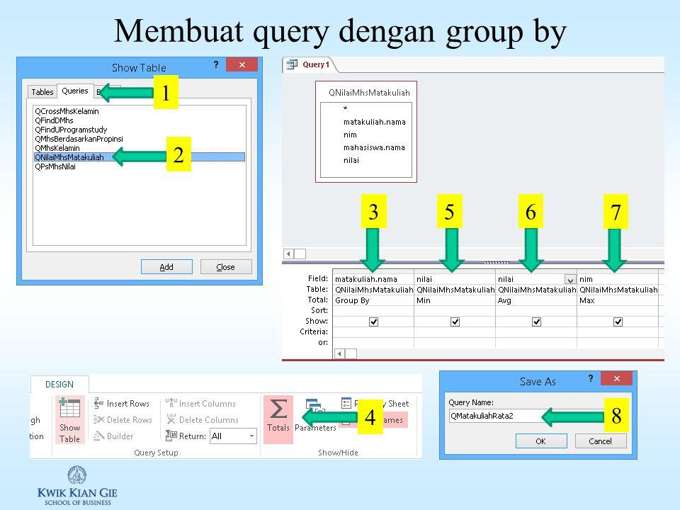 Hasil query dengan fungsi QNilaiMhsMatakuliah matakuliah.namanimmahasiswa.namanilai Ekonomi Mikro1401-0001Ardila72 Ekonomi Mikro1401-0002Bernard82.5 E