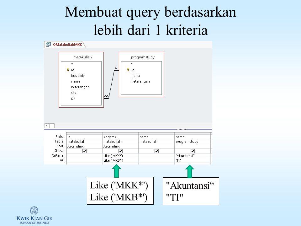 Membuat query berdasarkan 1 kriteria Like ( MKK* ) 1 2 3 4 5