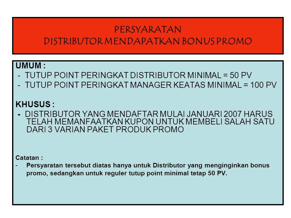 PERSYARATAN DISTRIBUTOR MENDAPATKAN BONUS PROMO UMUM : - TUTUP POINT PERINGKAT DISTRIBUTOR MINIMAL = 50 PV - TUTUP POINT PERINGKAT MANAGER KEATAS MINIMAL = 100 PV KHUSUS : - DISTRIBUTOR YANG MENDAFTAR MULAI JANUARI 2007 HARUS TELAH MEMANFAATKAN KUPON UNTUK MEMBELI SALAH SATU DARI 3 VARIAN PAKET PRODUK PROMO Catatan : -Persyaratan tersebut diatas hanya untuk Distributor yang menginginkan bonus promo, sedangkan untuk reguler tutup point minimal tetap 50 PV.