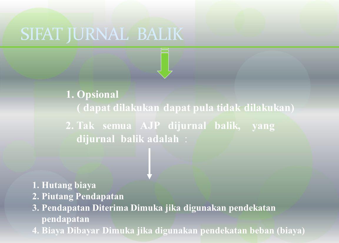 JURNAL PEMBALIK Jurnal yang dibuat pada awal periode sebagai kebalikan dari sebagian jurnal penyesuaian pada akhir periode sebelumnya Apakah semua jur